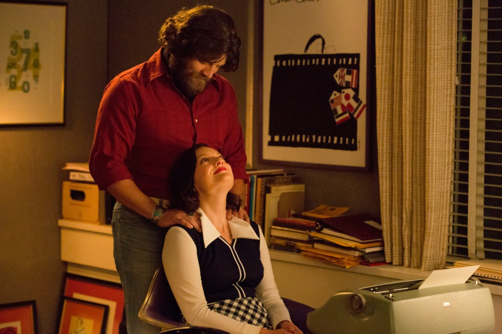 Jay R. Ferguson as Stan Rizzo and Elisabeth Moss as Peggy Olson - Mad Men _ Season 7B, Episode 14 - Photo Credit: Michael Yarish/AMC